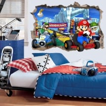 Vinyl and stickers 3d video game super mario kart