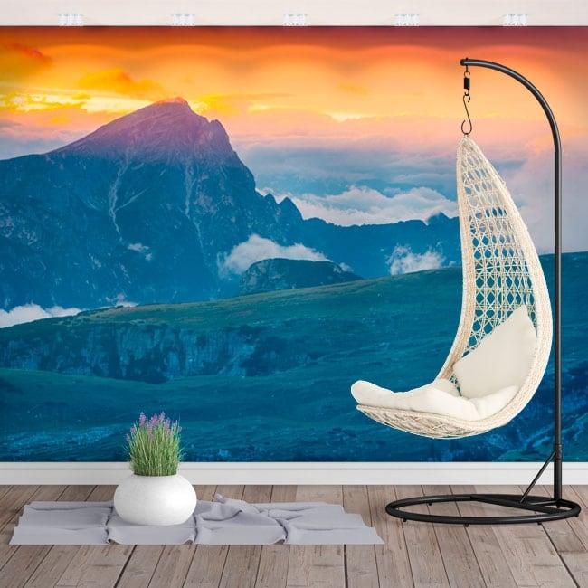 Photo murals sunrise mountain seekofel dolimites italy