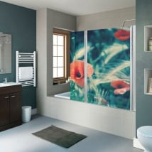 Vinyl for shower screens flowers poppies