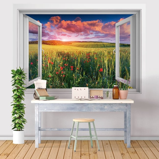 Vinyl windows 3d poppy flowers in the field at sunset
