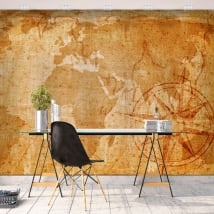 Adhesive murals vintage world map