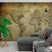 Adhesive murals vintage style world map