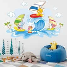 Wall decals children's animals windsurfing on the beach