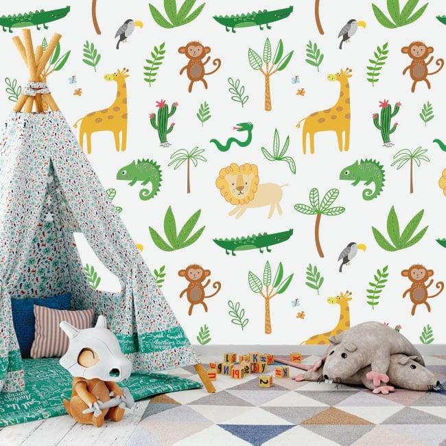 Children's murals jungle animals