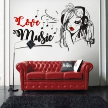 Vinyl and stickers woman silhouette love music