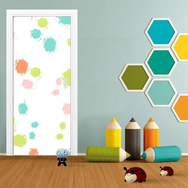 Door vinyl colorful splashes