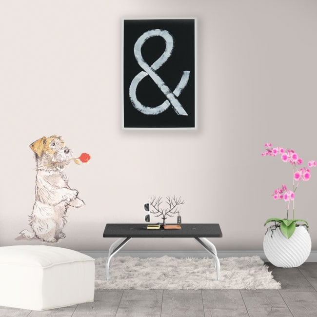 Decorative vinyl and stickers dog with rose