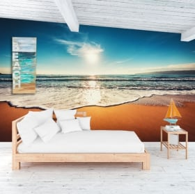 Vinyl wall murals palm trees and sunset on the beach