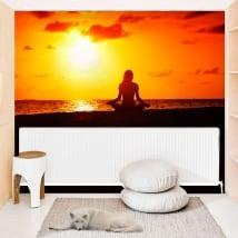 Vinyl murals yoga sunset on the beach