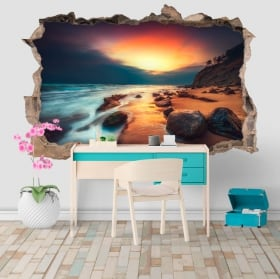 Vinyl and stickers 3d sunrise on the beach