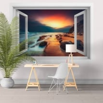 Wall decals window 3d sunrise on the beach
