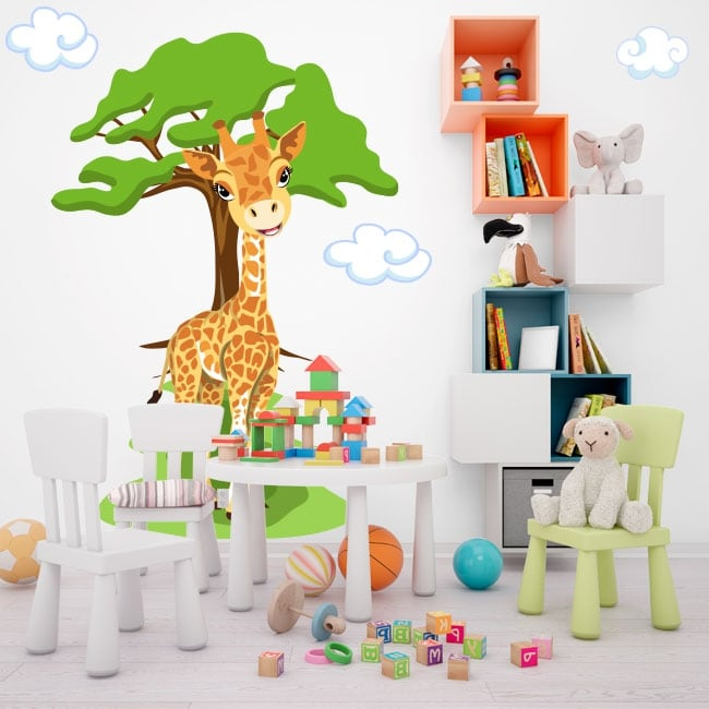 Children vinyl giraffe with tree and clouds