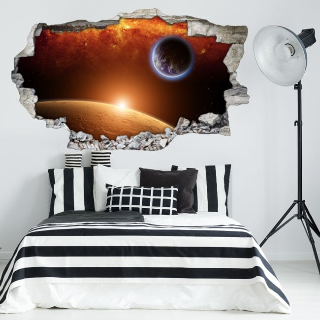 Vinyl 3d planet earth with mars and sun