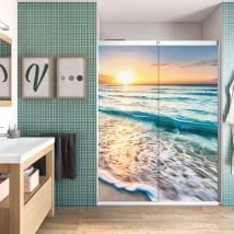 Vinyl bathroom screens sunset on the beach