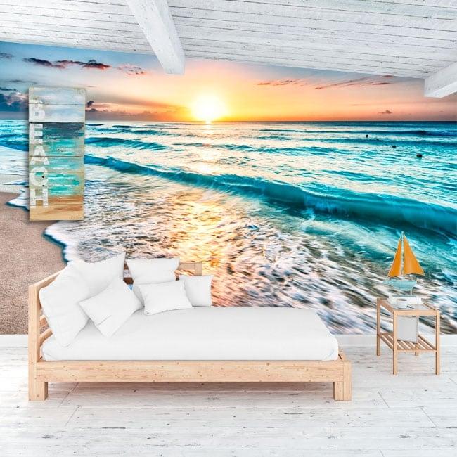 Vinyl murals sunset at the beach