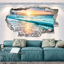 Vinyl hole wall sunset on the beach 3d
