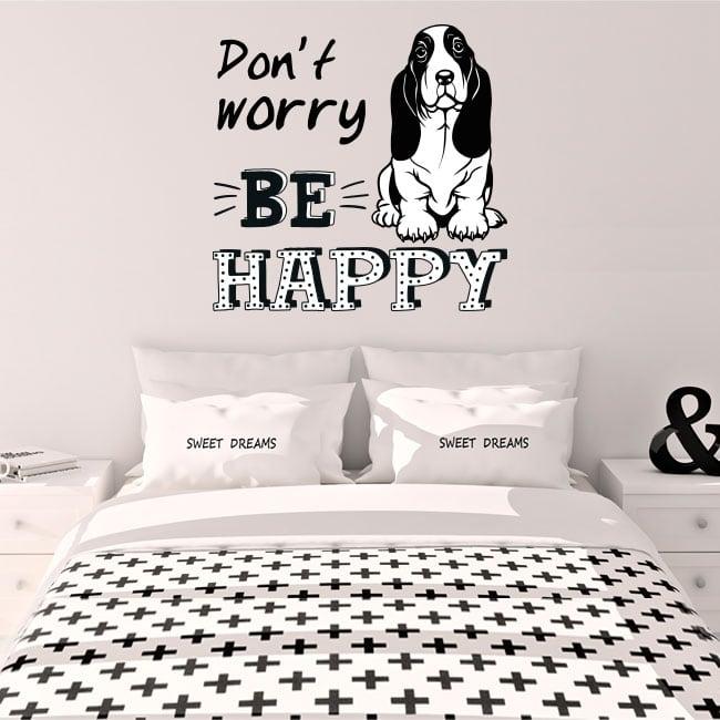 Decorative vinyl english phrase don't worry be happy