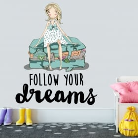 Decorative vinyl english phrase follow your dreams