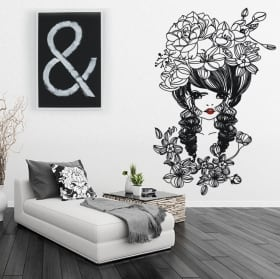 Vinyl and stickers silhouette woman flower with butterflies