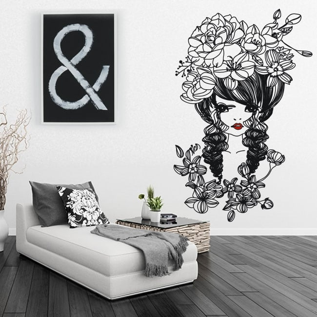 Decorative vinyl and stickers woman silhouette with flowers