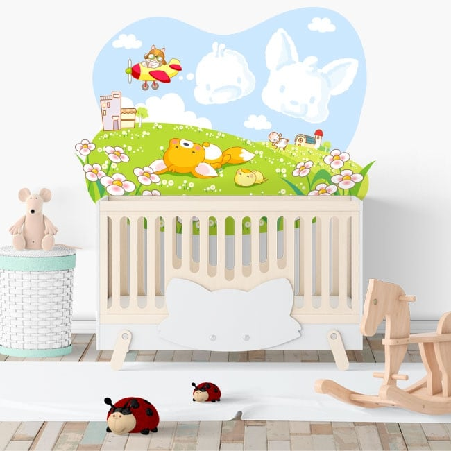 Children's or baby vinyl fox and chick in the field