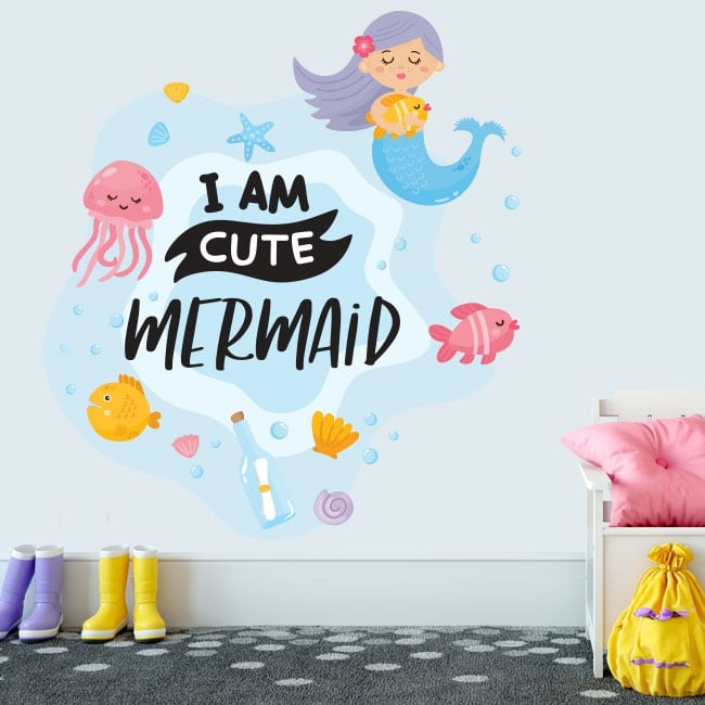 Decorative vinyl phrase in english i am cute mermaid