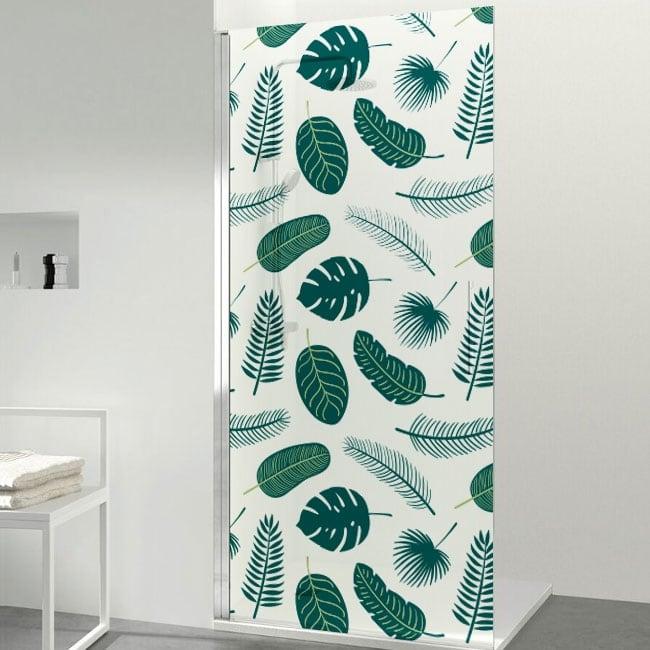 Vinyl for bathroom screens tropical leaves