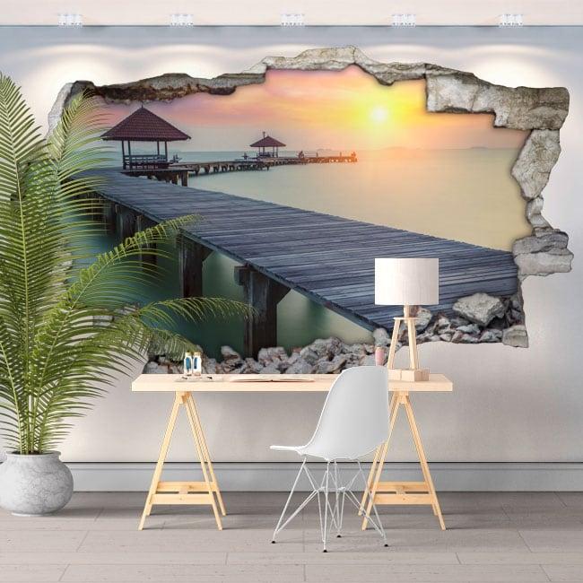 Vinyl hole wall sunset bridge on the island 3d