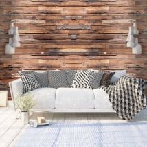 Vinyl wall murals with wood effect
