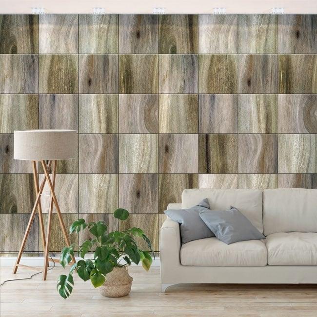 Vinyl murals wood effect squares