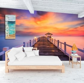Wall murals sunset on the island bridge