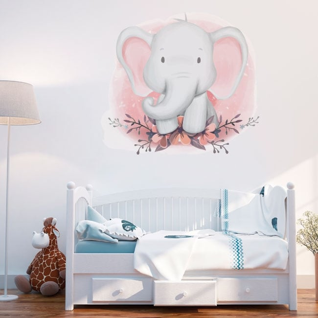 Vinyl and stickers elephant with flowers for babies