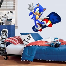 Decorative vinyl video games sonic snowboard