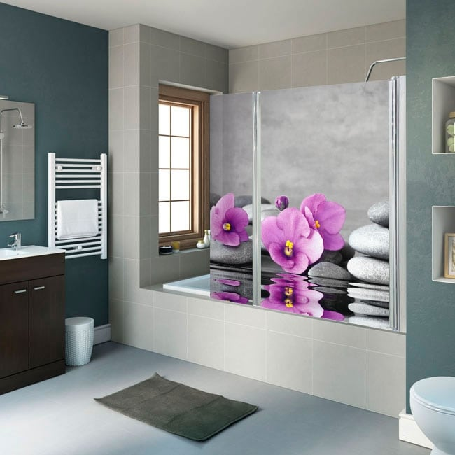 Vinyl bathroom screens flowers and zen stones