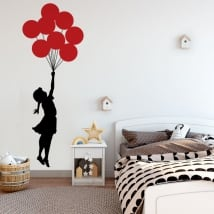 Decorative vinyl and stickers banksy girl with balloons