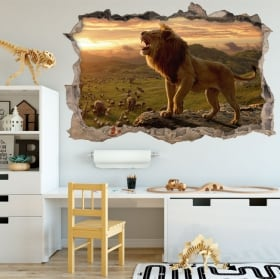 Vinyl wall broken 3D lion Africa