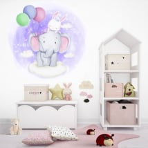 Vinyls and children's stickers elephant and rabbit in the clouds