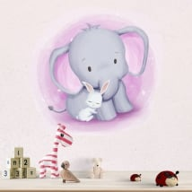 Children's or baby vinyl and stickers elephant and rabbit