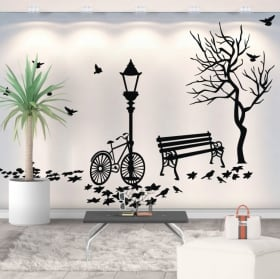 Decorative vinyl autumn by bicycle