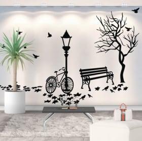 Decorative vinyl autumn by bicycle