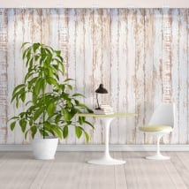 Vinyl wall murals with rustic white wood effect