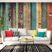 Vinyl wall murals with rustic wood effect