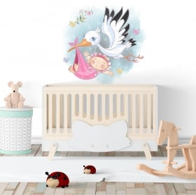 Decorative vinyl girl and stork for babies