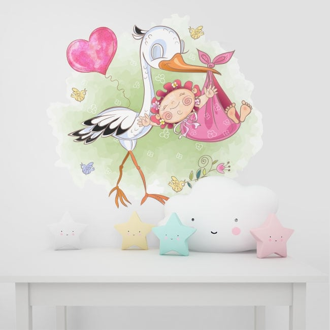 Vinyl and stickers for babies stork and girl