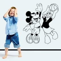 Vinyl mickey mouse and donald duck playing basketball