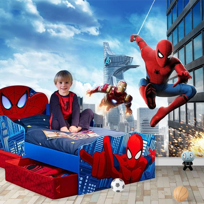 Wall murals marvel ironman and spiderman