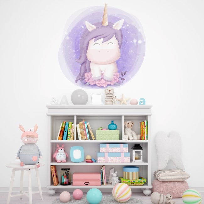 Children's or baby vinyl unicorn with flowers