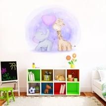Children's or baby vinyl giraffe and elephant