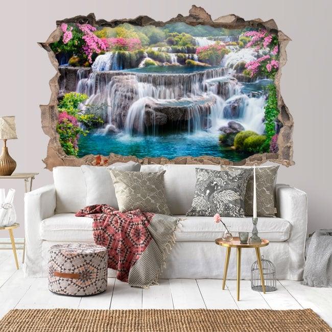 Vinyl wall hole 3d waterfalls in thailand