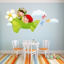 Decorative vinyl children and plane